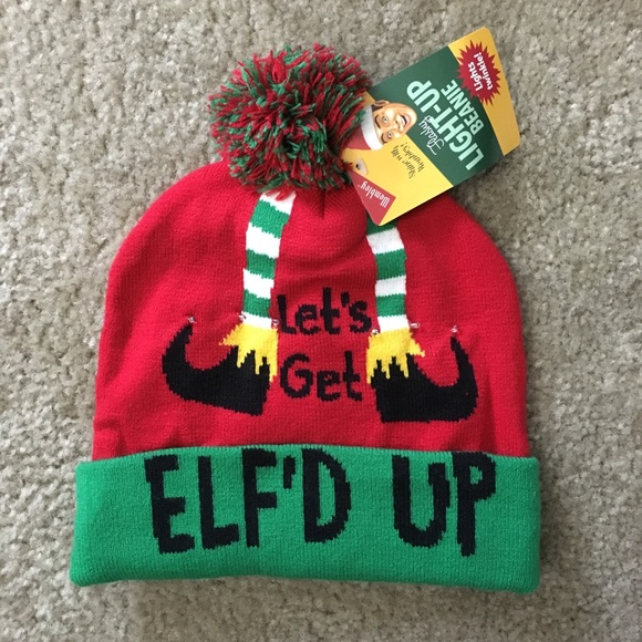 d836d7568b61d Let s get Elf d Up Christmas Novelty Beanie NWT